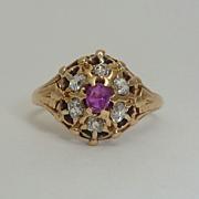 English Georgian Ruby & Diamond Cluster Ring in 18K Yellow Gold