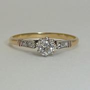 English Edwardian 0.39ct Platinum & 18K Diamond Ring