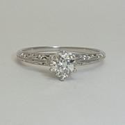 Edwardian Filigree 0.41ct Diamond Ring in Platinum