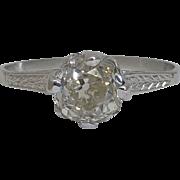 SALE Edwardian 1.10ct Diamond Engagement Ring in Platinum