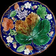 SOLD Antique Wedgwood Majolica Cobalt- Blue  Grape &  Strawberry Plate circa 1880   Perfec