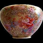 Antique Satsuma Mille Fleur  1000 Flowers Bowl  Meiji period  circa 1885