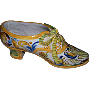 Antique French or Italian Faience High - Heel Shoe