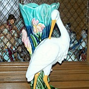 SOLD Antique Majolica Stand of Egret/Stork in Wetland circa 1910