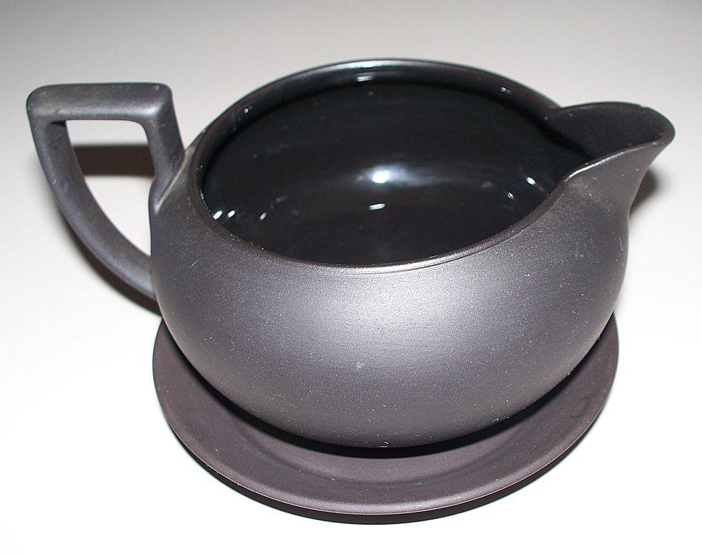 "Wedgwood Black Basalt Creamer & Tray   ""Made in England"""