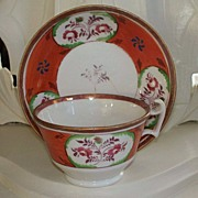 "Antique Staffordshire ""Gaudy Welsh"" Lusterware Cup & Saucer ca.1830"