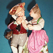Antique French Old Paris  Porcelain Figurine of Lovers & A Bear Picking His Pocket!  ca.1870