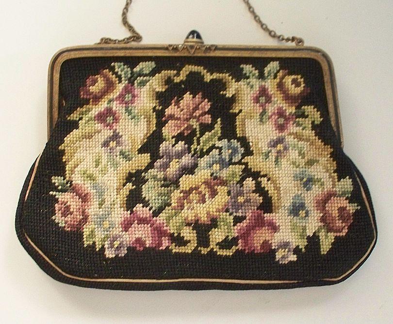 "Vintage Needlepoint Purse  ""Made in Austria"""
