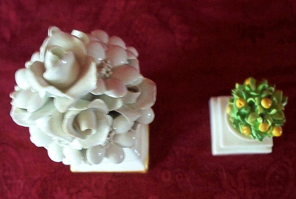 Two Italian Porcelain Floral & Orange Tree  Column  Vases