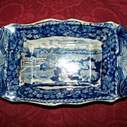 Antique  Pearlware  Staffordshire  Tray with Seashell Handles  c.1810