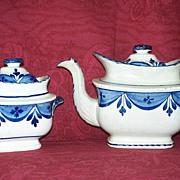 SOLD Antique Leeds Pearlware Staffordshire Tea Pot & Sugar Bowl with Lids c.1820