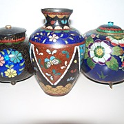 3 Japanese Cloisonne : One Butterfly Vase & Two Lidded Jars  circa 1890
