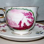 """Rare Haviland Limoges """"Meissen  Chinoiserie"""" Style Cup & Saucer"""