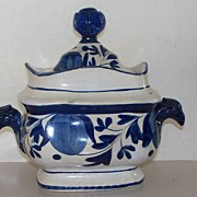SOLD Antique Leeds Pearlware Sugar Box or Bowl Eagle Handles  ca 1810