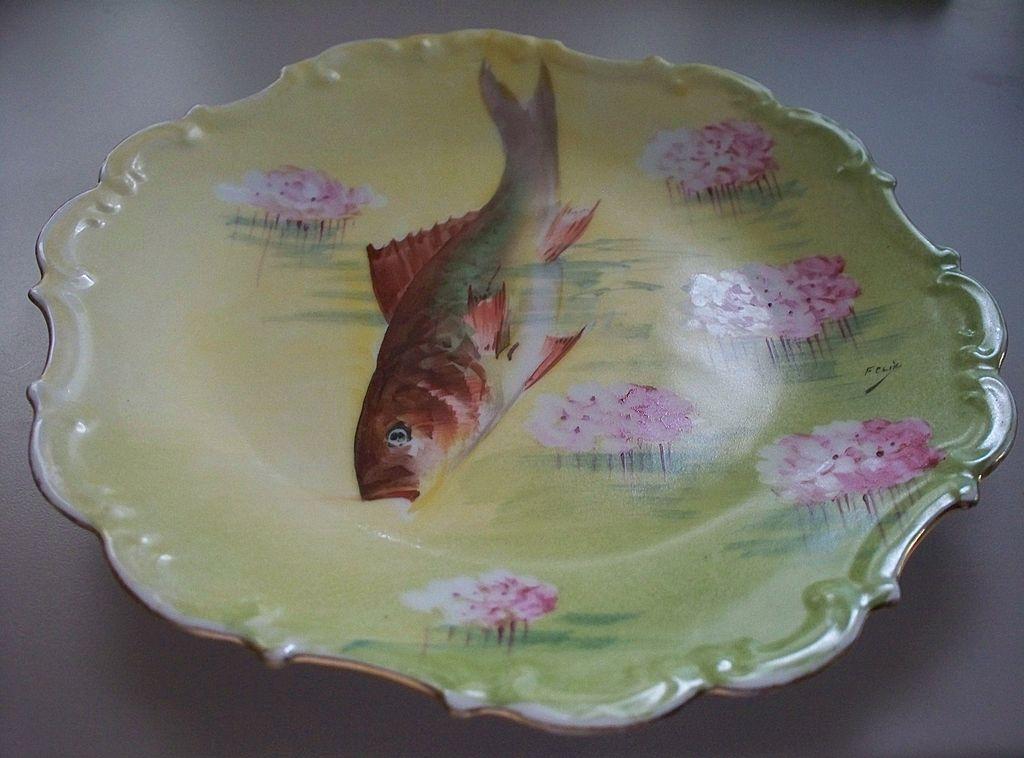 "Limoges France Fish Platter  Hand-Painted   11""   ca. 1910   FELIX!"
