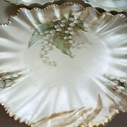 R S Prussia Pearl Luster Cake Plate & 2  Plates Red Mark circa 1890
