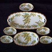 "Lovely Bavarian Germany Five Open Salts with Two Serving Bowls  ca 1900 ""New"""