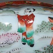 Lovely Kutani Melon-Shaped Fluted Sugar Bowl Butterflies & Child ca.1900