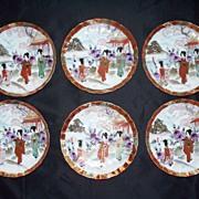 "Eleven Kutani Bowls: 6 Fluted Bowls & 5 Saucer Bowls ""Geishas"" Perfect ca 1900"