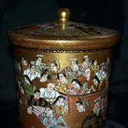 Exquisite Japanese Kutani Satsuma Covered Jar with 100 Men & Women  Meiji