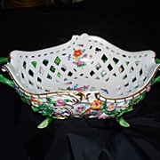Meissen Reticulated Basket w Applied Flowers & 12 Butterflies/Insects ca.1880