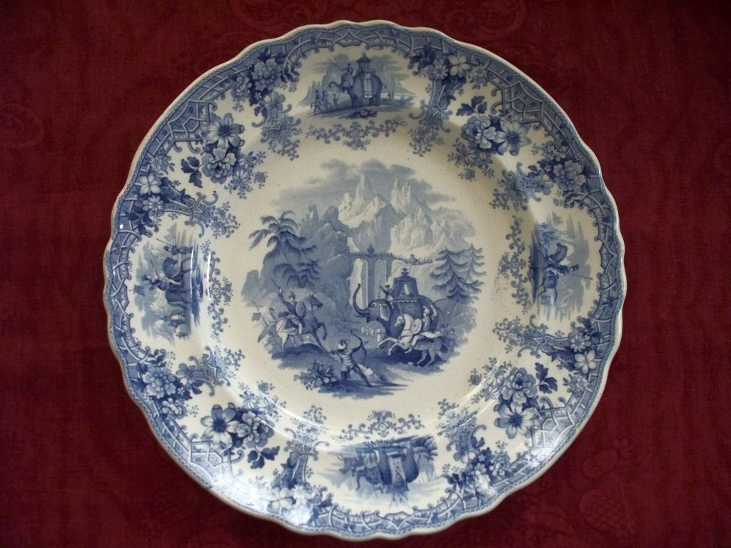 """Antique Staffordshire Historical Pearlware Plate """"Hannibal Crossing the Alps"""" circa 1825"""