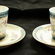 Pair of Sevres Celeste Blue Fluted Cups & Saucers   18th Century