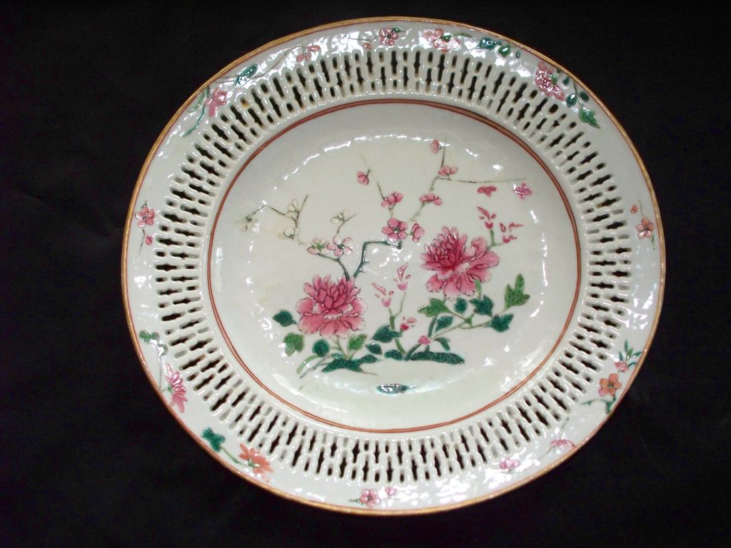 Antique Chinese Rose Famille Reticulated Border  Plate 18th Century
