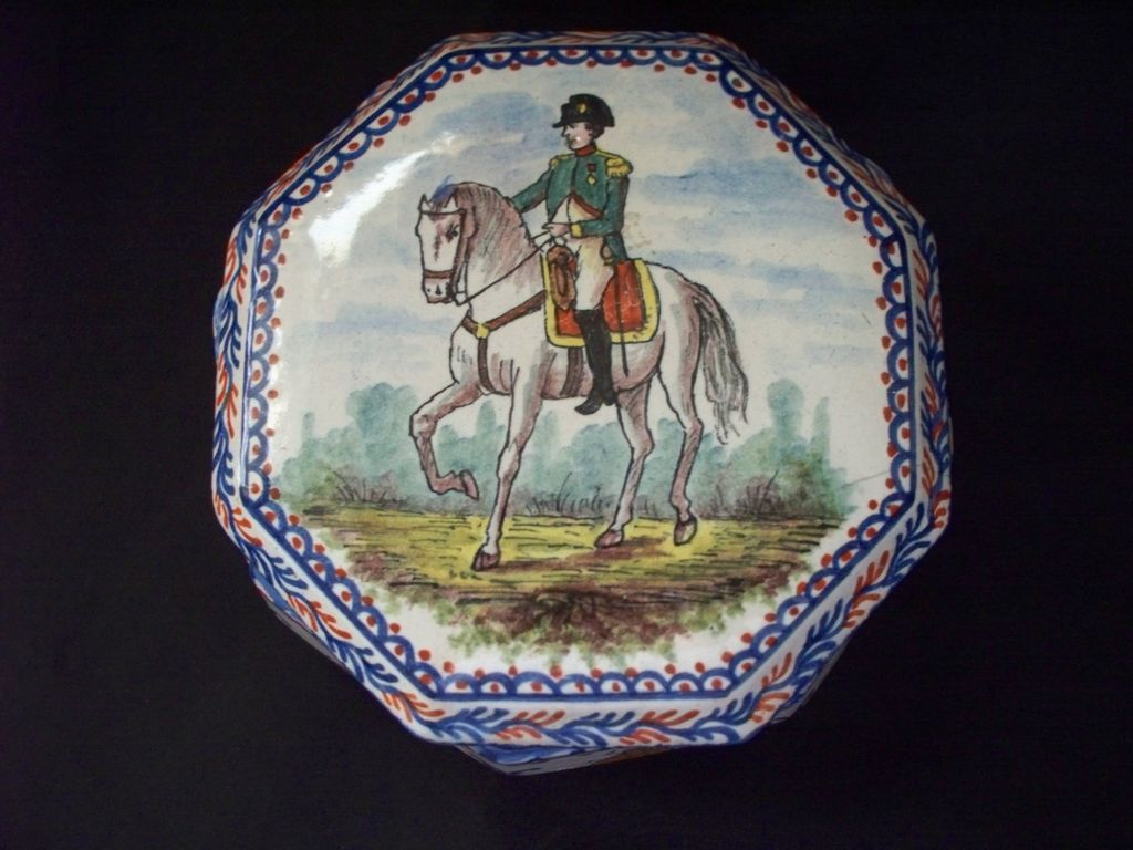 """Antique French Faience """" Napoleon"""" Tin-Glazed  Octagon Box with Butterflies"""