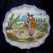 """Antique French Faience  """" Nevers """" """"Quimper"""" Desvres Shepherd  Fluted/Lobed  Plate 9"""""""