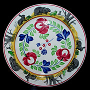 "Antique England Staffordshire  ""Rabbitware"" Large Plate 10 "" ca.1850"