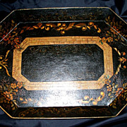 """SALE PENDING Antique French Tole Tray     18"""" x 13"""""""