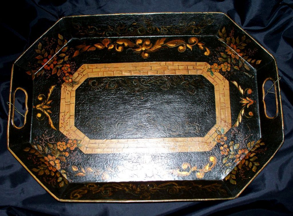 "Antique French Tole Tray     18"" x 13"""