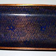 "Antique Chinese Cobalt- Blue Cloisonne  Tray     9"" X 3"""