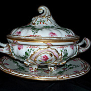 Antique French Sevres- Style Old Paris Rococo Style Louis XV Porcelain Tureen with Plate