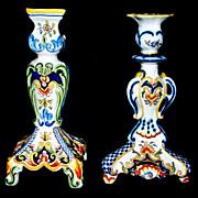 "Antique Desvres Large Candlesticks  10"" tall    circa 1885"