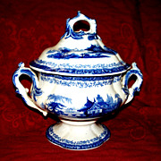 Antique Large Staffordshire Pearlware  Flow-Blue  Sugar Bowl  circa 1840   signed