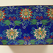 """Antique Large Chinese Cloisonne """"Lotus"""" Flower Box     Perfect"""