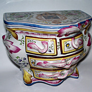 "Antique French Faience Strasbourg ""Paul Hannong"" Armorial Commode Box ca.1740"
