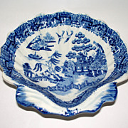 Antique English Pearlware Fluted Shell Dish/Stand  Willow ware  ca. 1820