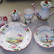 Delightful French Faience Breakfast Set  6 items by Veuve Perrin