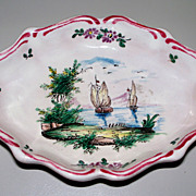 Pretty French Faience  Veuve Perrin Small Tray