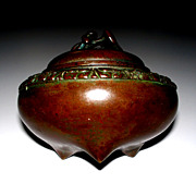 Antique Japanese Bronze Art Nouveau  Jar with Hearts