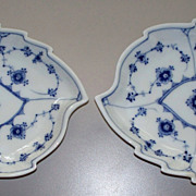 Pair Royal Copenhagen Leaf Plates  ca. 1970  unused