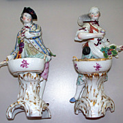 Pair of Antique KPM Royal Berlin  'Grape Gathers'  Figurines  ca.1880  9""