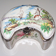 Antique French Faience Veuve Perrin Crescent-Shape Box 18th century