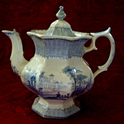 Antique Staffordshire Octagon-Shaped Teapot Adams & Sons Ironstone circa 1860