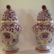 Pair of Antique French Faience Armorial Paul Hannong Potpourri Vases ca.1740