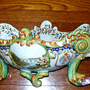 """Antique French Faience Fourmaintraux Freres Jardiniere  23"""" wide  Wow!"""