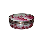 Antique French Porcelain Box with Sheffield Silver mounts..  18th/19th cent.